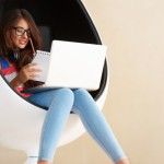 A girl with laptop